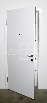 metalinės durys, su spyna, kairinės, baltos spalvos, su akute