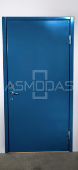 metalinės durys, su spyna, dešininės, mėlynos spalvos,