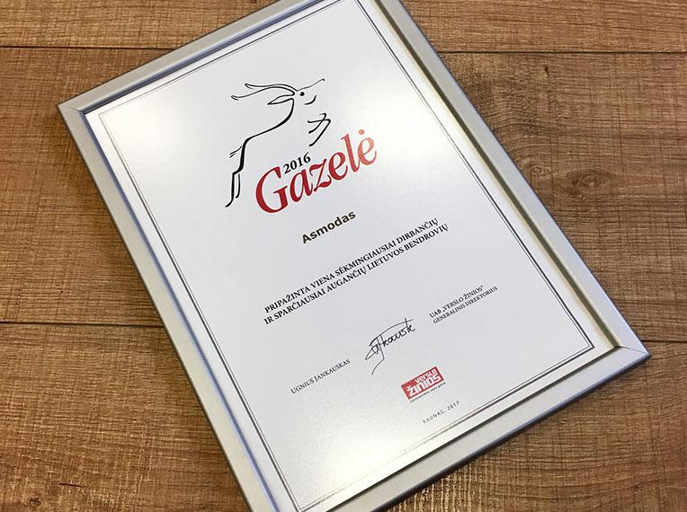 """""""Gazelės"""" apdovanojimas"""