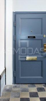 buto durys, su spyna, mėlynos medžio spalvos, su akute, prabangios