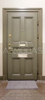 buto durys, su spyna, žalios medžio spalvos, su akute, su ornamentais