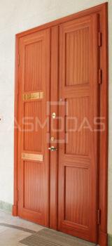 buto durys, su spyna, rudos medžio spalvos, kairinės, su akute, dvigubos