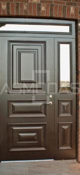 modernaus dizaino lauko durys, su langais, prabangaus dizaino, tamsiai pilkos spalvos, su ornamentais