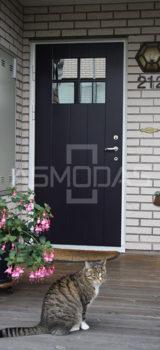 modernaus dizaino lauko durys, su langais, prabangaus dizaino, juodos spalvos