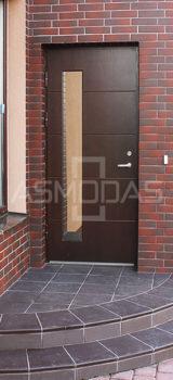 modernaus dizaino lauko durys, su langu, prabangaus dizaino, tamsiai rudos spalvos