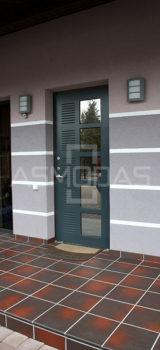 modernaus dizaino lauko durys, su langais, prabangaus dizaino, tamsiai pilkos spalvos