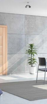 modernaus dizaino vidaus durys, rudos medžio spalvos,
