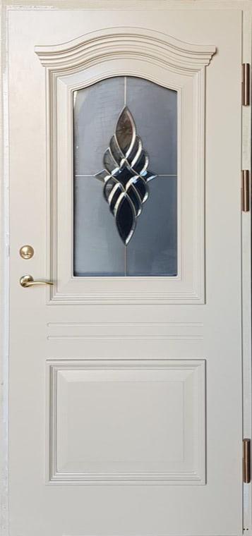šarvuotos durys, medžio spalvos, baltos spalvos, dešininės, su stiklais ir dekoracijom