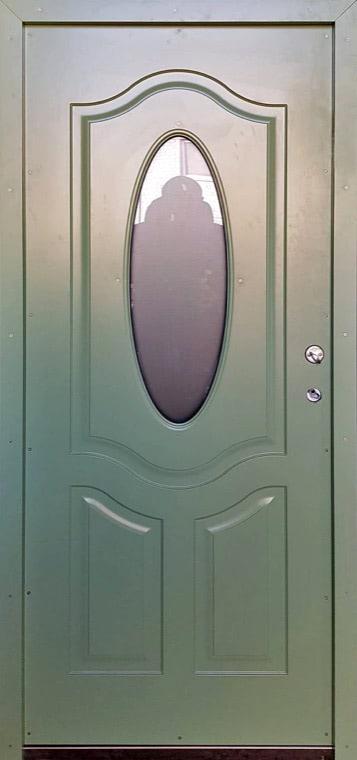 šarvuotos durys, medžio spalvos, žalios spalvos, atidarymas iš kairės, su ovaliu stiklu