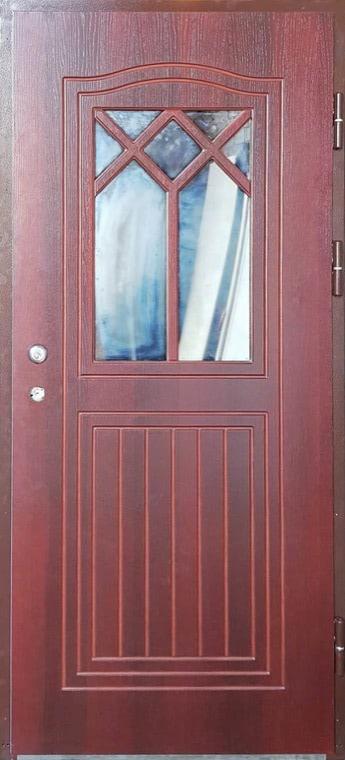 šarvuotos durys, medžio spalvos, tamsiai rudos spalvos, atidarymas iš kairės, su akute