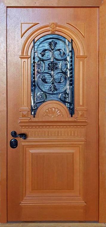 šarvuotos durys, medžio spalvos, rudos spalvos, atidarymas iš dešinės, su stiklu, prabangaus dizaino