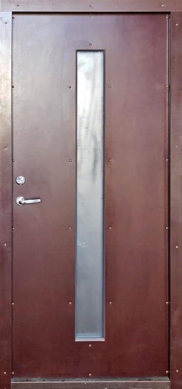 šarvuotos durys, medžio spalvos, rudos spalvos, su stiklu, atidarymas iš dešinės