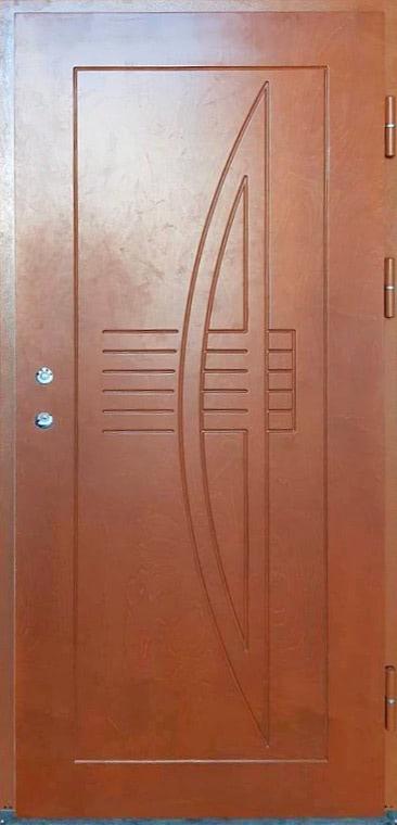 Medinės lauko durys DELTA, su spyna, su raštu, rudos spalvos